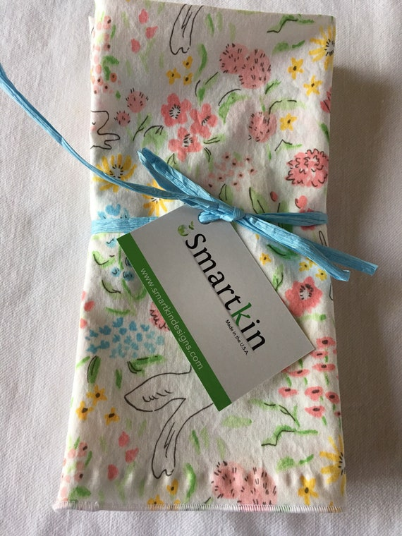 Floral Birds and Bunnies Pink, Yellow and Blue Dinner All Cotton Cloth Napkin Larger Size 18x18 by Smartkin