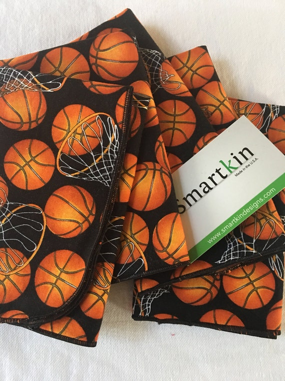 Basketball Orange and Black All Cotton Cloth Lunch Box Napkin by Smartkin