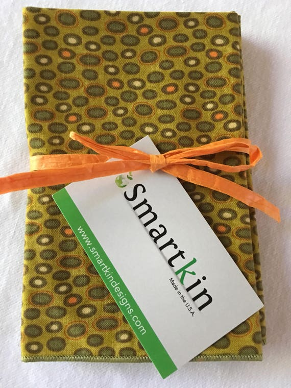 Set of 8 Modern All Cotton Green Dots Cloth Napkins 12x15 in Size by Smartkin