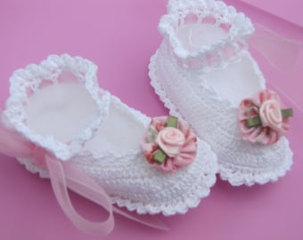 Little White and Pink Booties