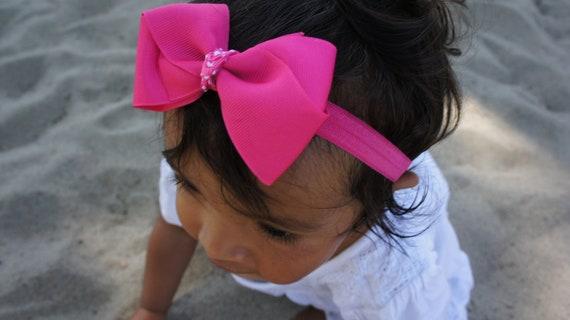 Cheveux Rose Bow serre-tête, Barrette, nouveau-né serre-tête, bandeau de filles, bandeau bébé Barrettes, Baby Girl Hair Bow bandeau, infantile