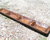 Hand carved Wooden dough bowl, LONG Skinny trencher with divided bowls 39 3 4 inches long, 2234