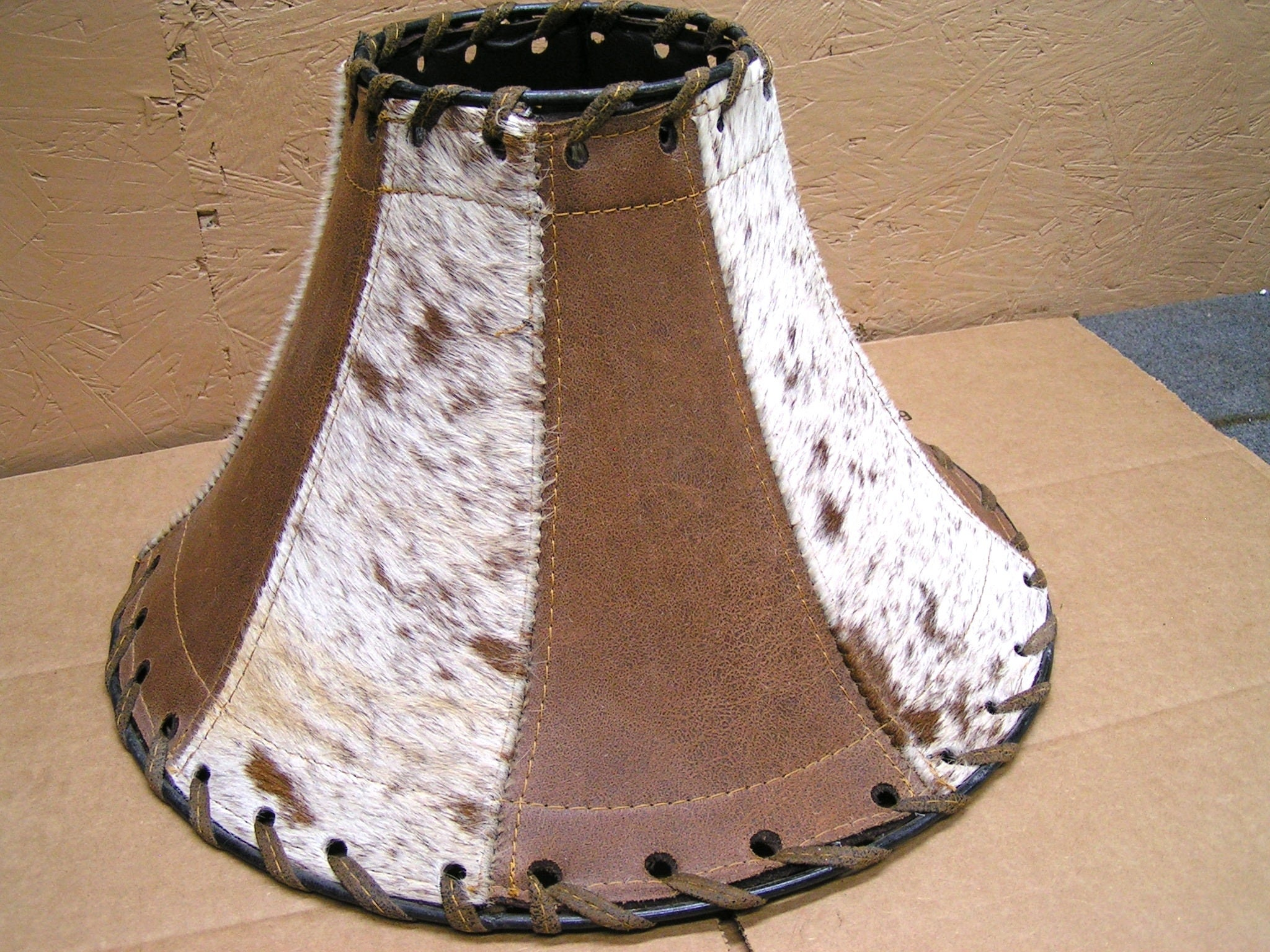 Southwest Leather Western Cowhide Lamp Shade, rustic lighting 0752
