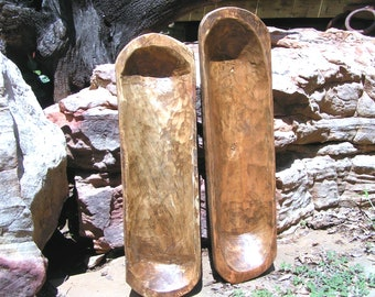 TWO small Hand Carved Wooden Dough Bowl Bread Trenchers 0394 0395 et