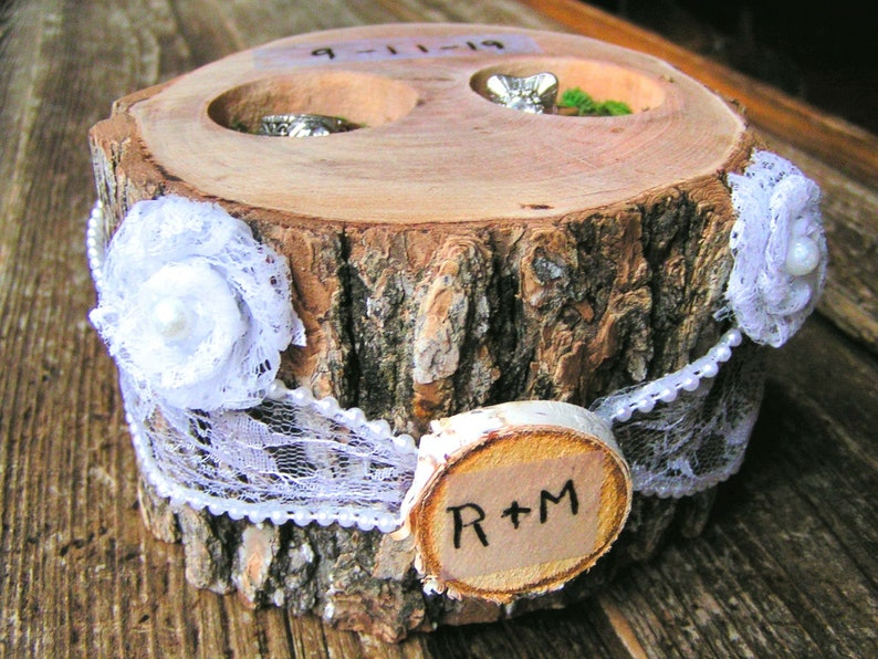 Personalized Ring bearer box Candle Holder Rustic woodland wedding pillow alternative