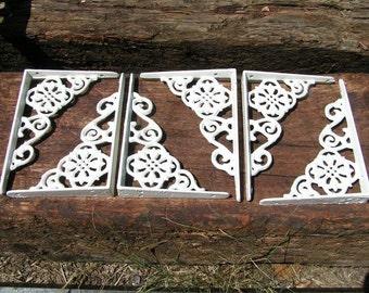 SIX Small Cast Iron Wall Shelf Brackets Corbel VICTORIAN Braces WHITE