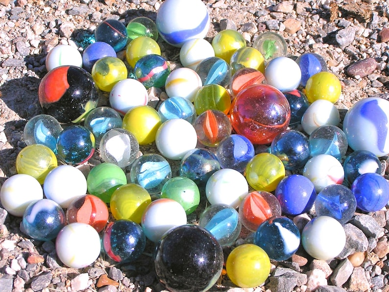 Sixty-two glass marbles Mixed lot BIG and small 58 to 1  New Old stock