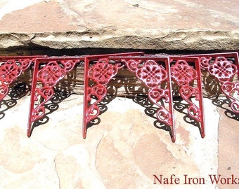 SIX Small Cast Iron Wall Shelf Brackets Corbel VICTORIAN Braces RED