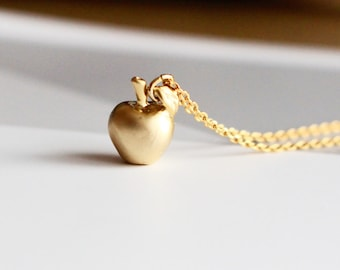 Snow White Golden Apple Necklace, 3D Apple Necklace, Apple of My Eye