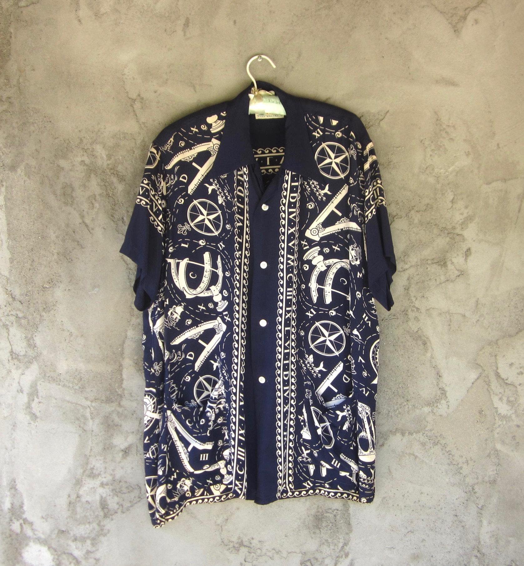 1940s Men's Shirts, Sweaters, Vests 1940S Rayon Hawaiian Shirt Not A Repro Mack Hawaii Shirt Jac Authentic Sailing Charts Navigation Motif Novelty $350.00 AT vintagedancer.com