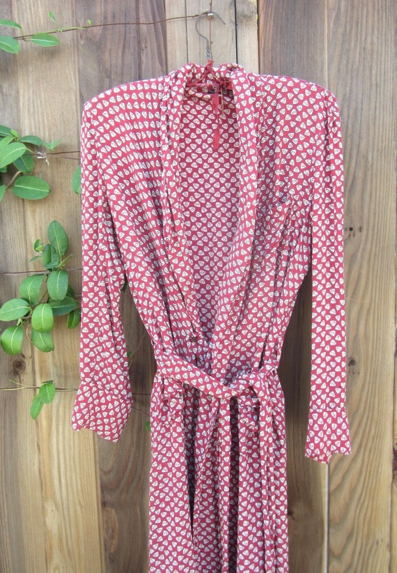 vintage 1940s mens rayon robe dressing gown red pa