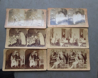 Stereoscope cards 1800s 6 crazy couples