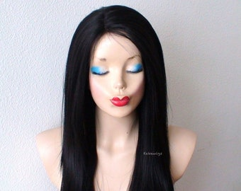 White Black Wig Lace Front Wig Cosplay Wig Half White Etsy