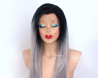 Parrucca grigia. The Dark roots argento parrucca anteriore del merletto.  Parrucca di Ombre di grigio. Parrucca di capelli scuro radici grigio. 86ddcf9bded4