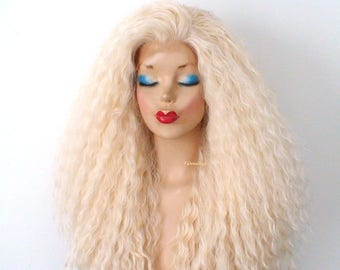 Blonde Lace front wig. Curly blonde wig. Synthetic wig for women. Blonde wig.  Cosplay wig. Everyday wig. b9f08709c4