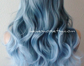 Blue Ombre Wig Etsy