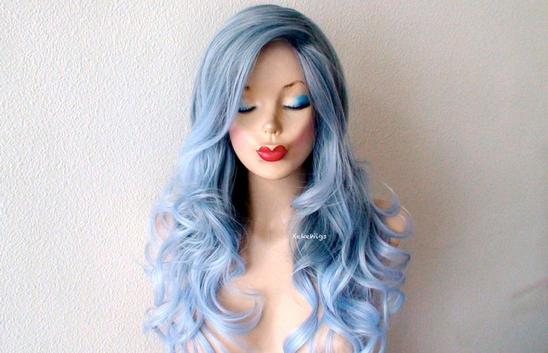 Meerjungfrau Blau Perücke Pastell Blau Ombre Perücke Langes Lockiges Haar Lange Seite Pony Perücke Langlebige Perücke Für Tagsüber Tragen