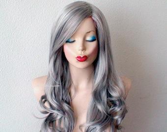 "Gray wig. Salt pepper hair 26"" Curly wig. Heat friendly synthetic hair wig."