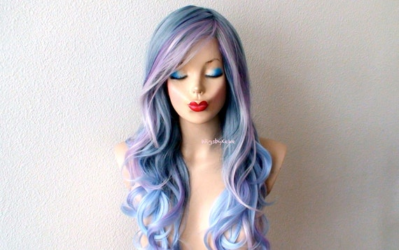 Pastel wig.Lace front wig. Blue Lavender Pink Purple Long  1aa51b597