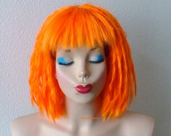Cosplay wig. Orange dreadlocks hairstylewig. Orange hair wig. Short orange wig. Cosplay wig. Costume wig. Adult Halloween Costume wig.