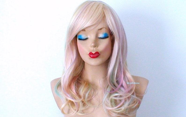 Pastel wig. Subtle blonde rainbow hair wig. Lace front wig  63ed2d376