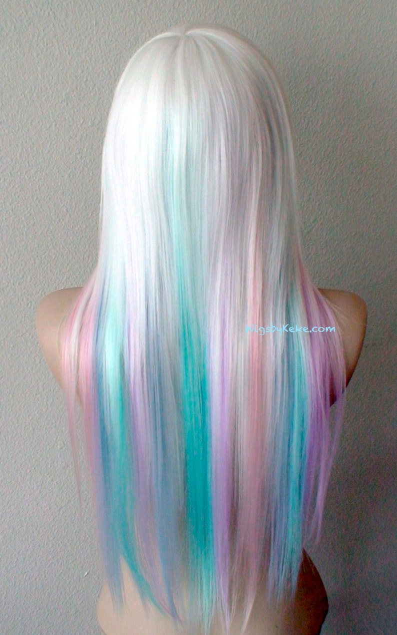 Pastel rainbow ombre wig. Snow white wig. Pastel pink Lilac  849bdc732