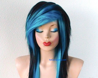 """Emo wig. Black Turquoise ombre wig. 28"""" Straight layered hair side bangs wig.Cosplay wig."""