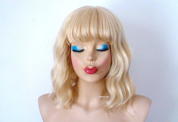 Blonde Wig Short Blonde Beach Wave Wig With Bangs Curly Etsy