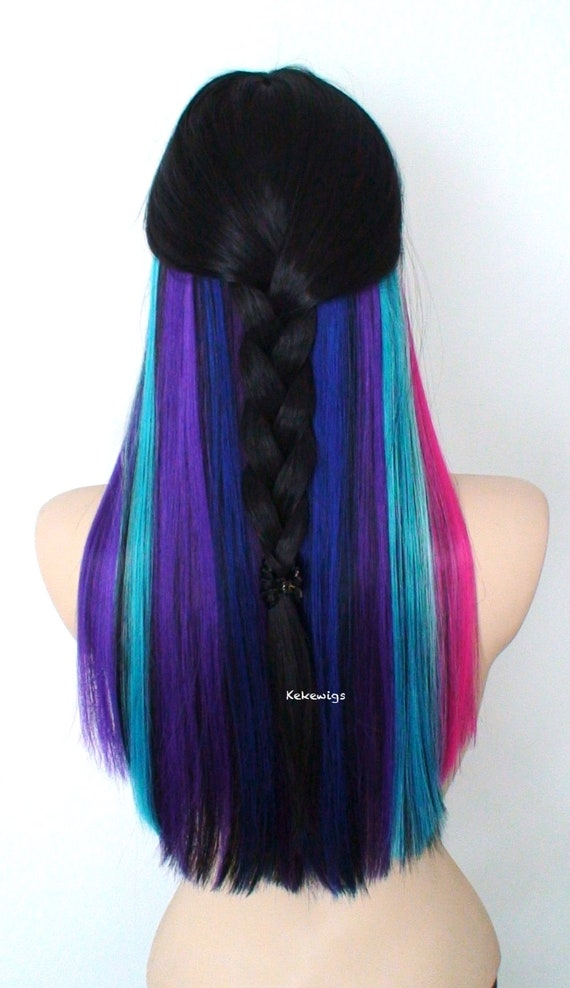 Brand New Mid-Length Hidden Rainbow Wig Black