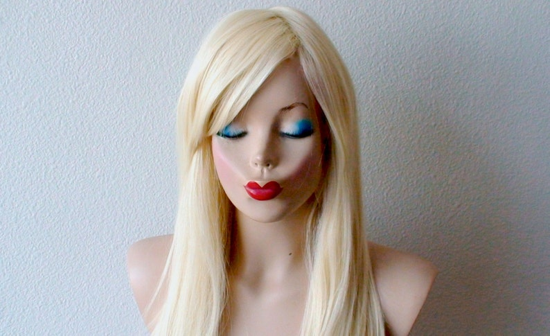 Blonde Wig Straight Blonde Hair Wig With Bangs Synthetic Wig Etsy