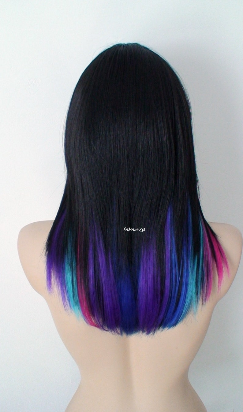 Galaxy Ombre Wig Black Pink Purple Blue Ombre Wig Straight Hair With Bangs Wig Durable Heat Friendly Wig For Everyday Wear Or Cosplay