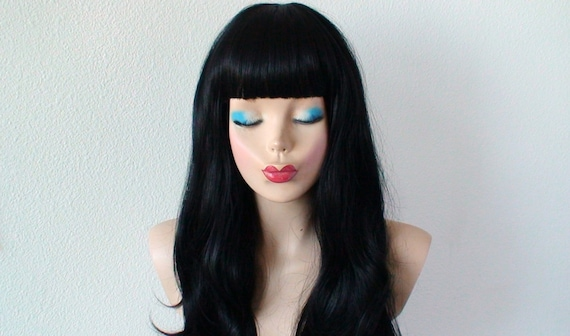 black wig wavy black wig with straight across bangs human etsy