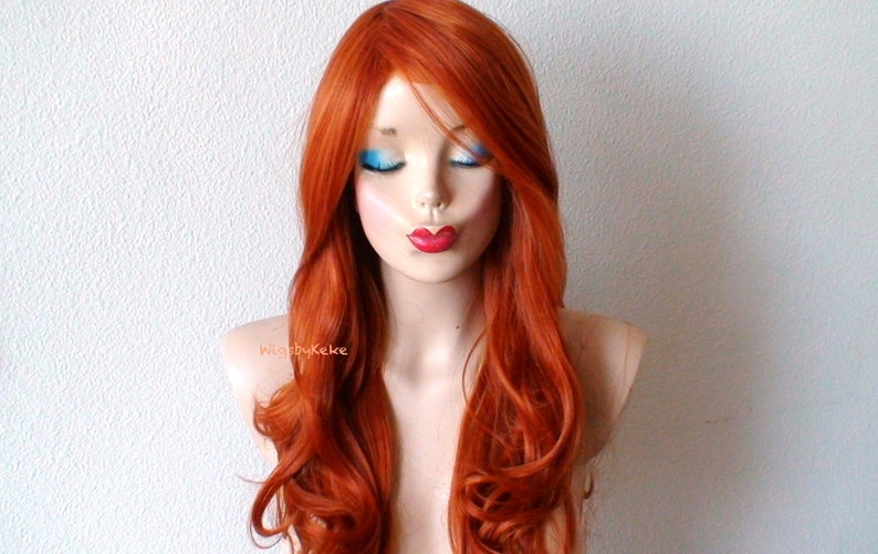 Ginger red long curly wig. Lace front wig. Ginger wig for  42bea3445