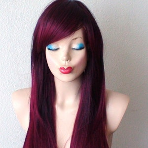 Wine Red Ombre Long Straight Hairstyle Wig Ombre Hair Wig Etsy
