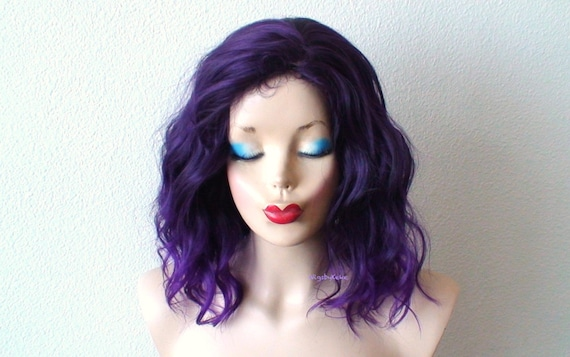Purple wig. Ombre wig. Short purple curly wig for women.  129128c62