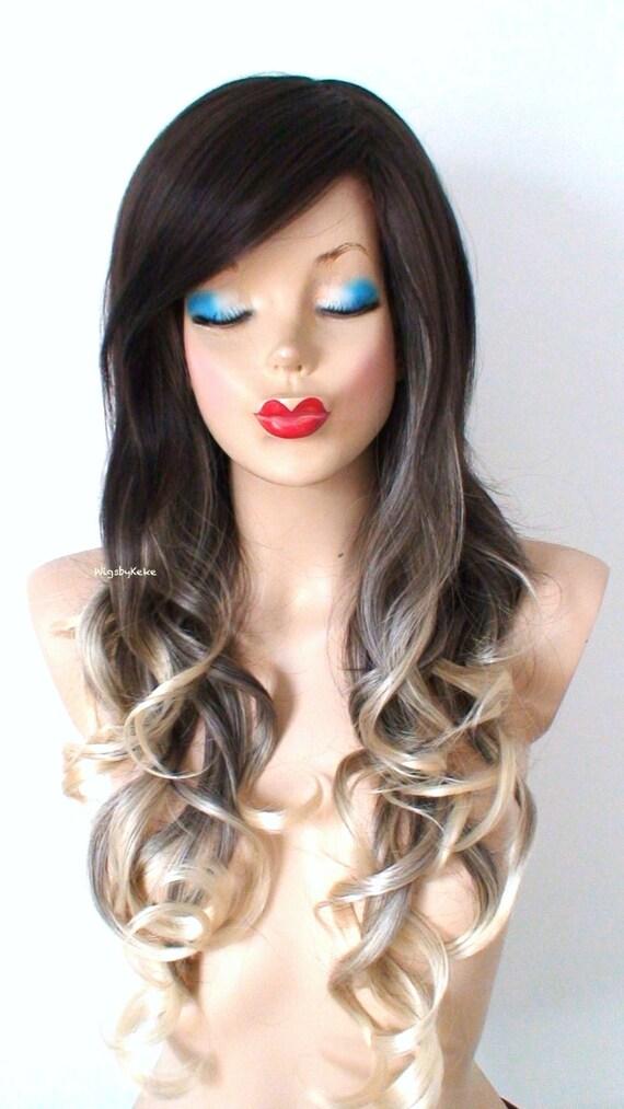 Brown Blonde Ombre Wig Long Curly Hair Long Side Bangs Wig Etsy