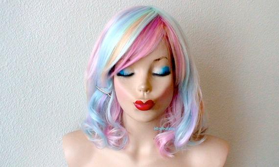 Pastell Perucke Ombre Perucke Kurze Regenbogen Haarperucke Etsy