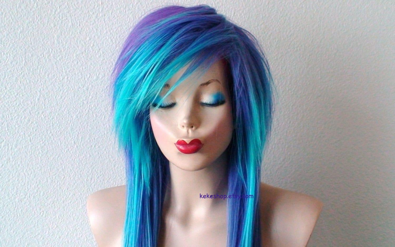 Emo Wig Teal Purple Ombre Wig Blue Scene Wig Long