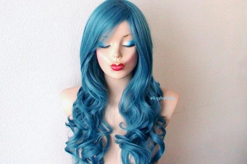 Teal blue long curly wig. Mermaid blue wig. Pastel wig. Blue image 0