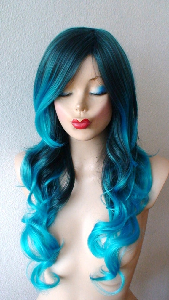 Blue Wig Teal Blue Ombre Wig Mermaid Pastel Turquoise Wig Etsy