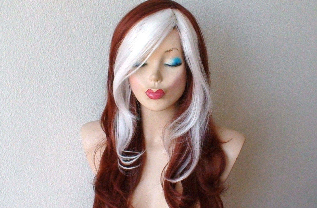 Cosplay Wig Copper Red White Color Hair Long Wavy Hair Etsy
