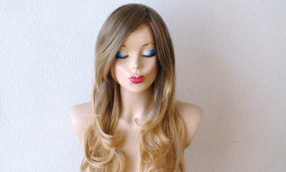 Ash Caramel Strawberry Blonde Ombre Wig Long Curly Hair Etsy