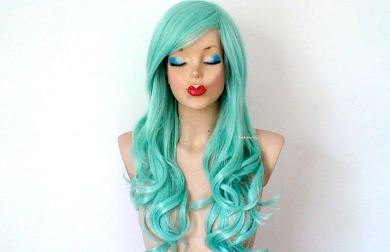 Pastel Wig Mint Hair Wig Mermaid Green Hair Wig Long Curly Etsy
