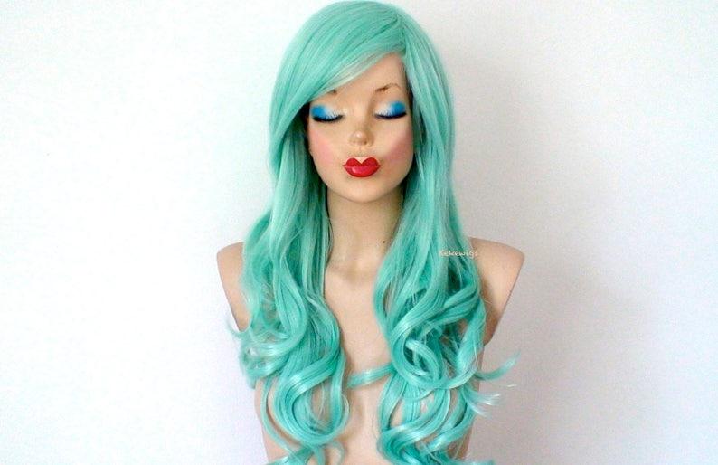 Pastell Perucke Mint Haarperucke Meerjungfrau Grune Haare Perucke Lange Lockige Frisur Langlebig Hitze Freundlich Synthetische Perucke Fur
