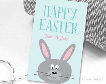 Easter Tags Printable Easter Favor Tags Easter Gift Tags Happy Easter Tags Bunny Tags Rabbit Tags Personalized Customized Easter Bunny Tags