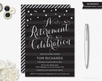 Retirement Invitation Silver Glitter Black Stripes Printable Black Silver Retirement Invite Retirement Party Retirement Printable Digital