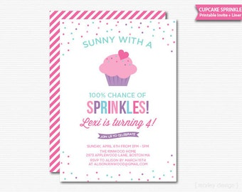 Cupcake Sprinkle Birthday Invitation Printable Digital Invite PDF File Girl Birthday Sprinkles Baking Party Sweet Celebration