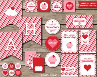 Sweet Valentine's Day Party Printables Instant Download DIY Digital Valentine's Day Decorations PDFs Valentine Printables Valentines Party