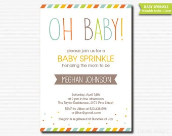 Oh Baby Shower Sprinkle Invitation Printable Gender Neutral DIY Digital Invite