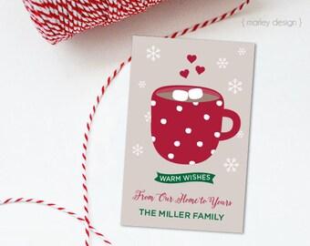 Cocoa Tags Hot Chocolate Tags Printable Christmas Tags Neighbor Gifts Holiday Tags Holiday Gift Tags Christmas Favor Tags Holiday Favors DIY